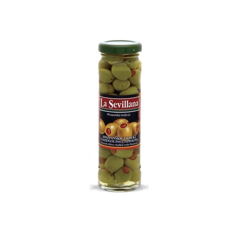 Hiszpańskie oliwki zielone nadziewane papryką 156ml