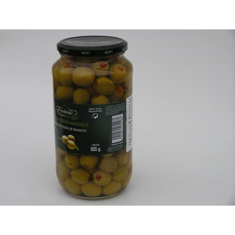 Hiszpańskie oliwki zielone nadziewane papryką 935g
